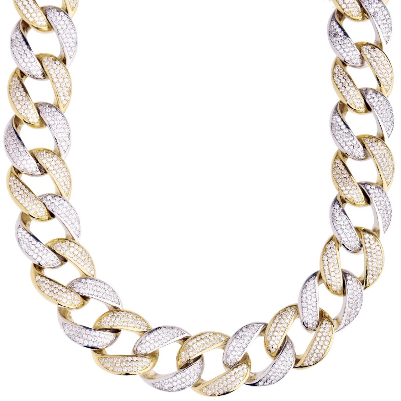 4c886e3100e8e 925 Silver Iced Out Miami Cuban Link Chain 16 MM
