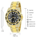 CLOXSTAR Stainless Steel Full Iced Out Watch BM GLD_