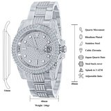 CLOXSTAR Stainless Steel Full Iced Out Watch BMM SLV_