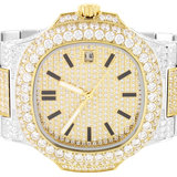 CLOXSTAR MOB Stainless Steel Two Tone Solitaire Bezel Luxury Watch_