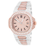CLOXSTAR MOB Stainless Steel Two Tone II Solitaire Bezel Luxury Watch_