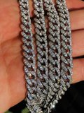 Sterling 925 Silver Iced Out Miami Cuban Link Chain 10mm_