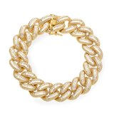 925 Zilveren Iced Out Baguette Cuban Link Armband 18 MM GD_