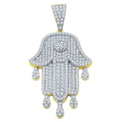 925 ZILVEREN ICED OUT KHAMSA HANGER - GD