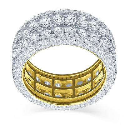 925 Zilveren Iced Out Ring GD - ROYAL