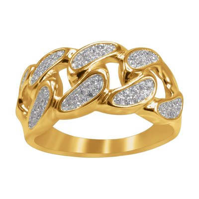 925 Zilveren Iced Out Ring GD - CUBAN