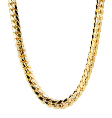 14K Solid Yellow Gold Miami Cuban Link Chain 10MM