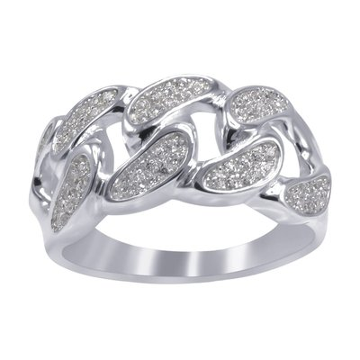 925 Silver Iced Out Ring - CUBAN