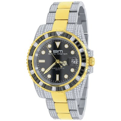 CLOXSTAR Stainless Steel Full Iced Out Watch BM 2TONE
