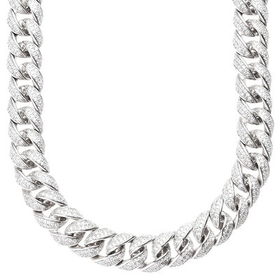 Sterling 925 Silver Labmade Stones Bling Chain - MIAMI CUBAN 15mm