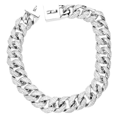 Sterling 925 Silver Labmade Stones Iced Bracelet - MIAMI CUBAN 13mm