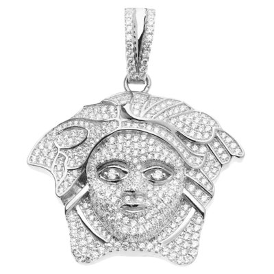 925 Iced Out Sterling Silver Pendant - MEDUSA HEAD