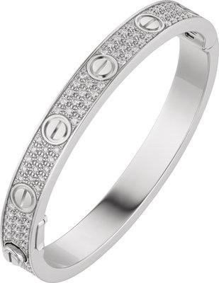 925 Zilveren Iced Out Cartier Stijl Love Armband