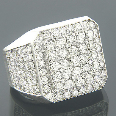 14K Gold Mens Designer Diamond Rings Item 8.02ct