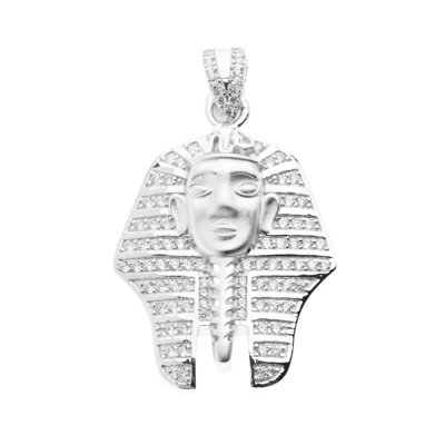 925 Sterling Silver Micro Pave Pendant - PHARAOH 4cm