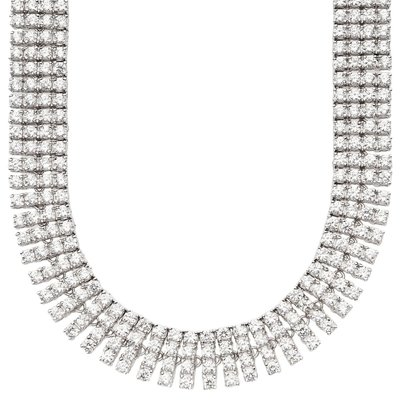 Iced Out Bling ZIRCONIA STONE 4 ROW Chain - silver / clear