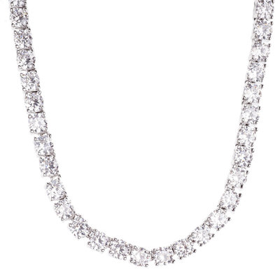 Iced Out Bling ZIRCONIA STONE 1 ROW Chain - silver / clear