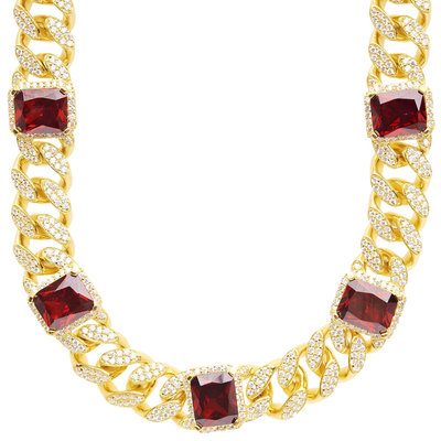 Sterling 925 Silver RUBY Cuban Swarovski Ketting