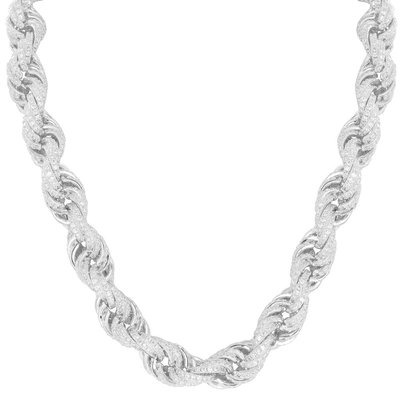 925 Sterling Silver Iced Out Rope Chain