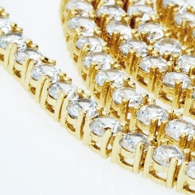 Iced Out Bling ZIRCONIA STONE 1 ROW Chain - yellow / clear