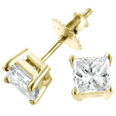 14K Yellow Gold Diamond Earrings .50ct