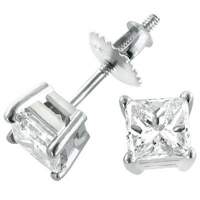 14K Witgouden Diamanten Oorbellen .50ct