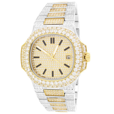 CLOXSTAR MOB Stainless Steel Two Tone Solitaire Bezel Luxury Watch