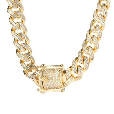 Sterling 925 Silver Iced Out Miami Cuban Link Chain 12mm GD