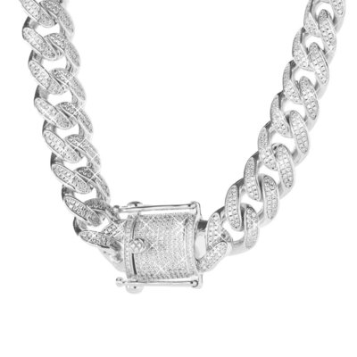 Sterling 925 Silver Iced Out Miami Cuban Link Chain 12mm