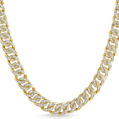 Sterling 925 Silver Iced Out Miami Cuban Link Chain 10mm GD