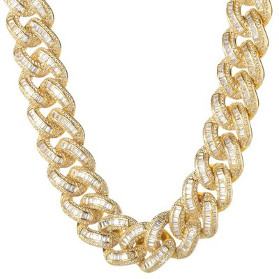 Sterling 925 Silver Iced Out Baguette Cuban Link Chain 18mm GD