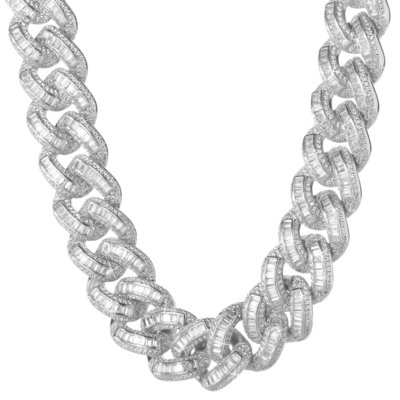 Sterling 925 Silver Iced Out Baguette Cuban Link Chain 18mm