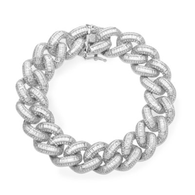 Sterling 925 Silver Iced Out Baguette Cuban Link Bracelet 18mm