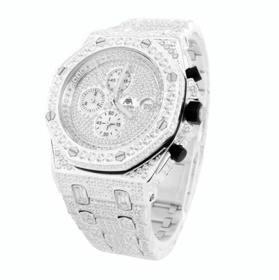 CLOXSTAR MOB Stainless Steel Iced Out Presidential Watch SLV