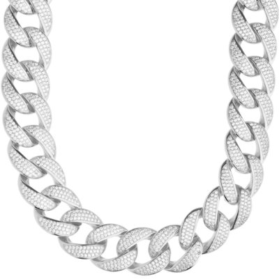 Sterling 925 Silver Iced Out Miami Cuban Link Chain 18mm