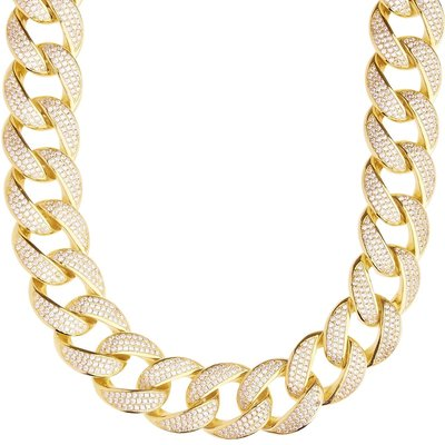 Sterling 925 Silver Iced Out Miami Cuban Link Chain 18mm GD