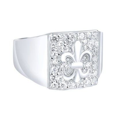 925 Silver Iced Out Ring - Fleur de Lis