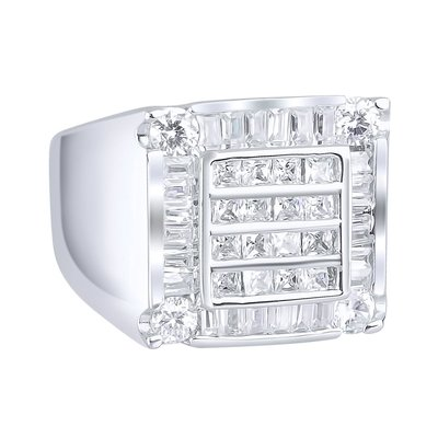 925 Silver Iced Out Ring - Cube