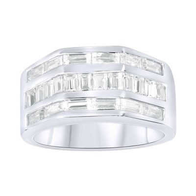 925 Silver Iced Out Ring - Hexago