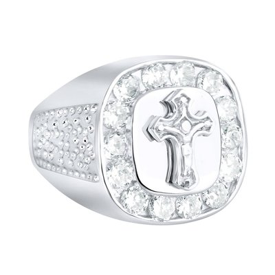 925 Silver Iced Out Ring - Cross