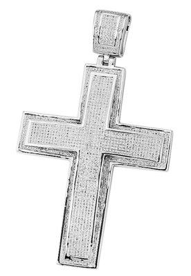 925 Silver Micro Pave Diamond Cross - 2.00 ct