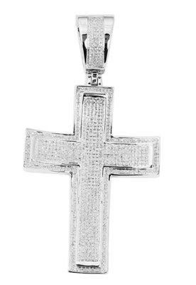 925 Silver Micro Pave Diamond Cross - 1.33 ct