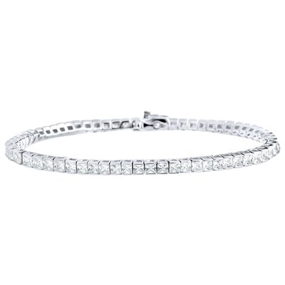 925 Silver Iced Out Tennis Bracelet Baguettes