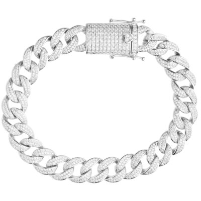 925 Zilveren Iced Out Miami Cuban Link Armband 12 MM