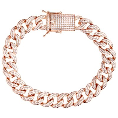 925 Zilveren Iced Out Miami Cuban Link Armband 12 MM - RG