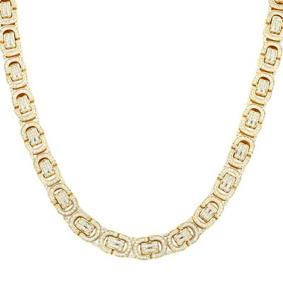 925 Zilveren Iced Out Byzantine Link Chain