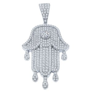 925 STERLING SILVER ICED OUT KHAMSA PENDANT