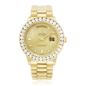 Rolex Day-Date 18K Yellow Gold Diamond Watch