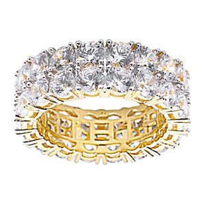 925 Zilveren Iced Out Ring GD - TENNIS DOUBLE