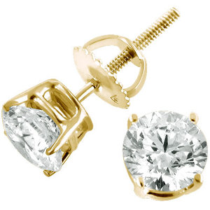 14k Yellow Gold Diamond Stud Earrings Round Diamonds 50ct